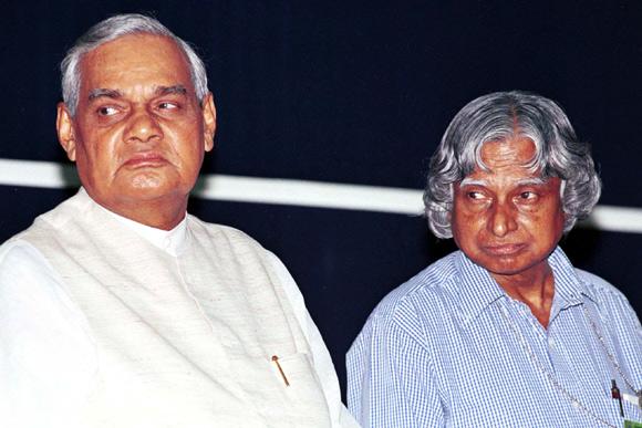 A P J Abdul Kalam with then prime minister Atal Bihari Vajpayee
