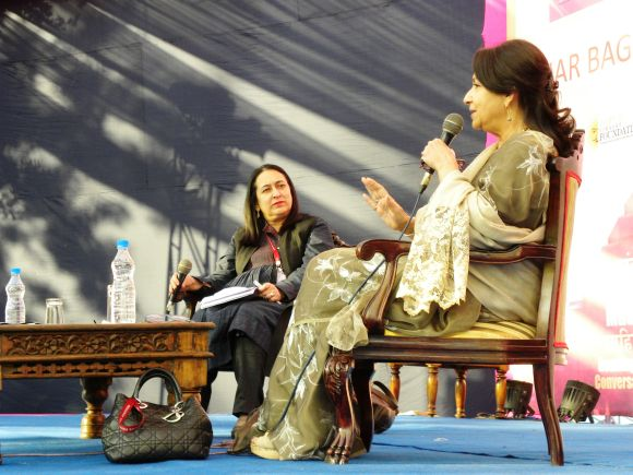 Sharmila Tagore and Nasreen Munni addressing a session at the Jaipur Literature Festival on Friday