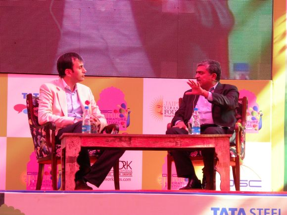 Ruchir Sharma and Nandan Nilekani addressing a session at the Jaipur Literature Festival on Friday
