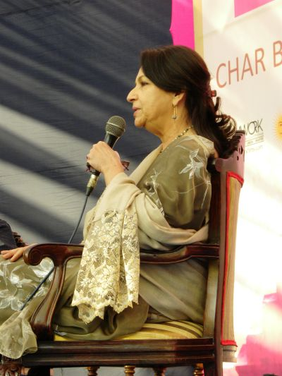 Sharmila Tagore address the audience during a panel discussion at the Jaipur LitFest
