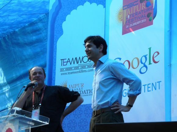 Faramerz Dabhoiwala and William Darlymple address a session at the Jaipur Literature Festival on Friday