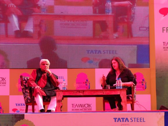 Javed Akhtar and Rachel Dwyer during a panel discussion at the Jaipur Literature Festival on Friday