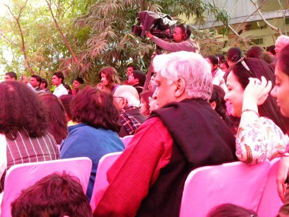 Javed Akhtar seen in the audience wit Rohini Nilekani and Shabana Azmi