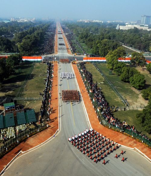 A bird's eye view of Rajpath, during the 64th Republic Day parade in New Delhi on Saturday.