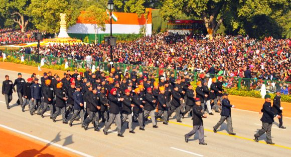 Ex-Servicemen marching contingent passes through Rajpath during the 64th Republic Day parade