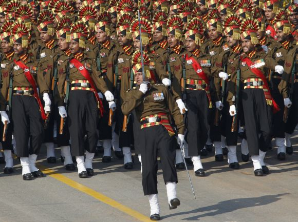 Soldiers march during the Republic Day parade in New Delhi