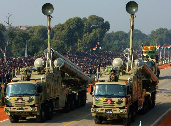 Brahmos Weapon System passing through the Rajpath during the 64th Republic Day parade in New Delhi