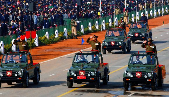 Param Vir Chakra and Ashok Chakra awardees passe through the Rajpath during the 64th Republic Day parade in New Delhi
