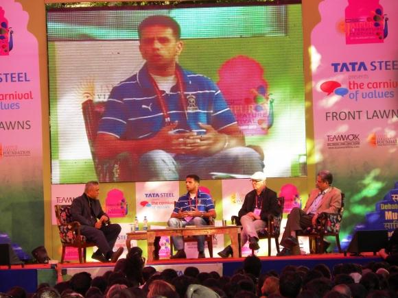 Rajdeep Sardesai, Rahul Dravid, Suresh Menon and Ian Buruma