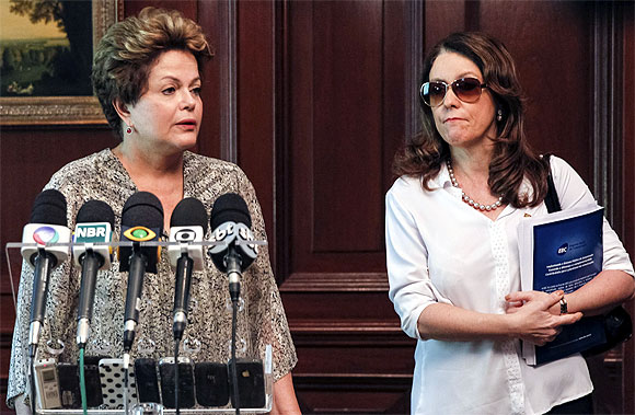 Brazil's President Dilma Rousseff addresses the media about the nightclub fire