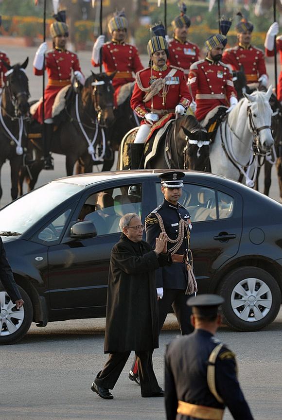 President Pranab Mukherjee arrives at the ceremony, in New Delhi