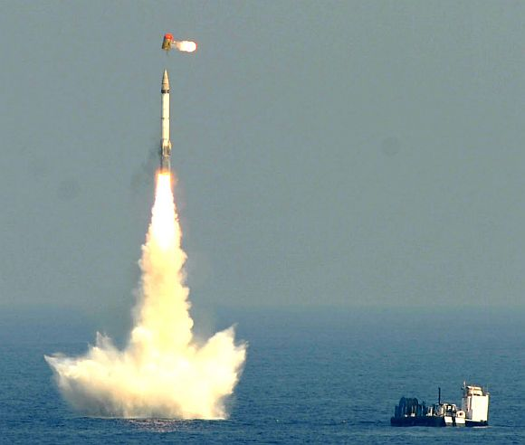 India's first under water-launched missile B05 successfully takes flight from the Bay of Bengal off the coast of Visakhapatnam