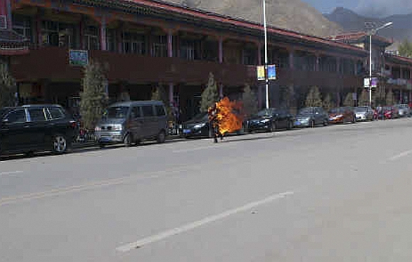 In this handout photo released by The International Campaign for Tibet on, a man is seen ablaze after he set himself on fire in Xiahe, Gannan Tibetan Autonomous Prefecture, Gansu province