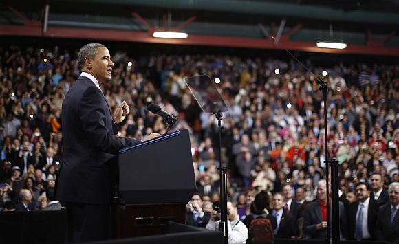 U S President Barack Obama delivers remarks on immigration reform at Del Sol High School in Las Vegas