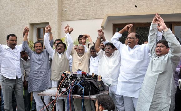 Congress leaders from Telangana showing a united face before the media in Hyderabad