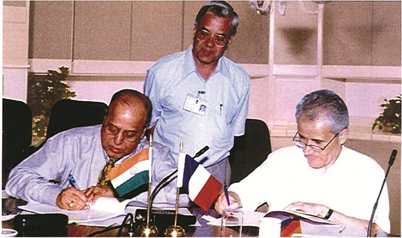 Then ISRO chairman Dr K Kasturirangan and Professor Bensoussan of CNES sign the Megha-Tropiques MOU in 2001.