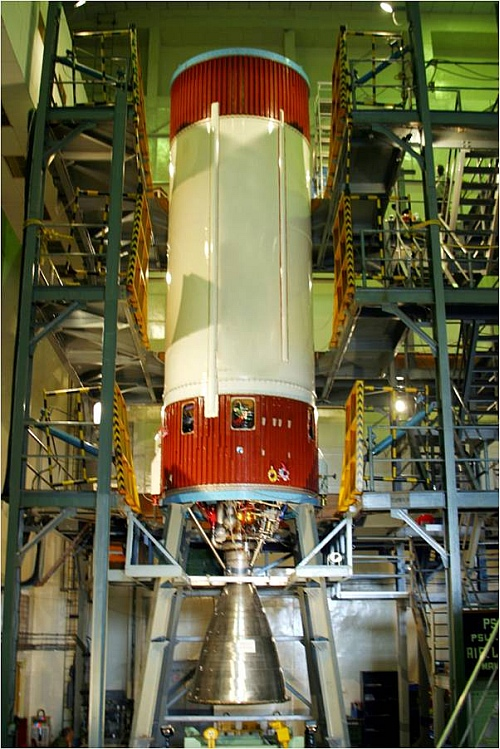 A Vikas engine mounted on a PSLV 2nd stage rocket