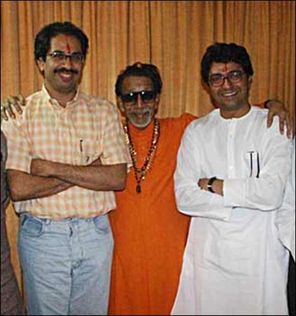 Bal Thackeray with Uddhav and Raj before the latter split from the Shiv Sena
