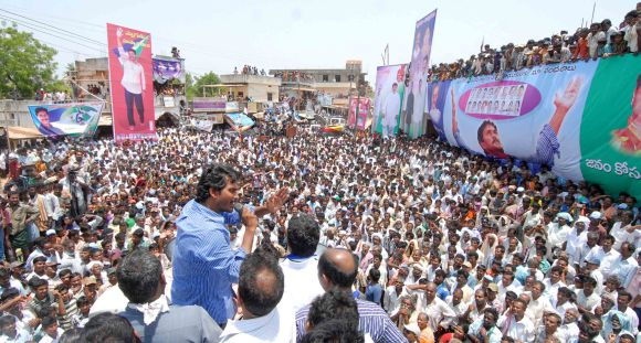 Jagan Reddy addresses a public rally at Koduro village in Andhra Pradesh's Krishna district.