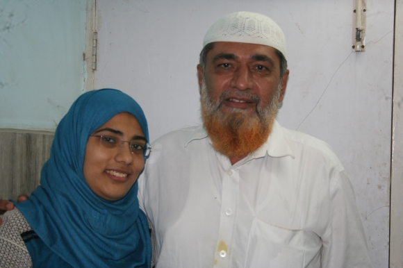 Shaheen Dhada with her father Farukh in their Palghar home