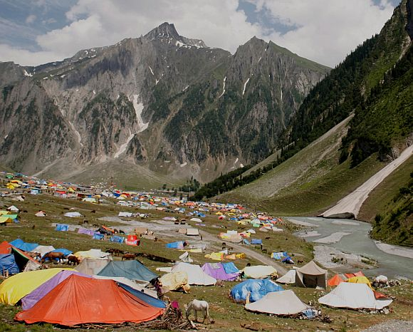 The Amarnath Yatra base camp at Baltal