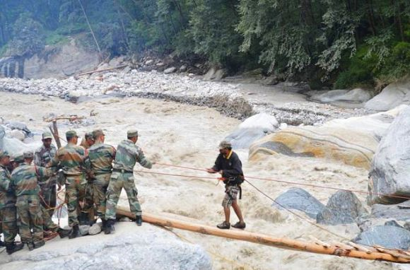 Army personnel rescue a stranded person in rain-devastated Uttarakhand