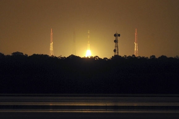 India's Polar Satellite Launch Vehicle PSLV-C22, carrying India's first navigation satellite system IRNSS-1A, lifts off from the Satish Dhawan Space Centre in Sriharikota