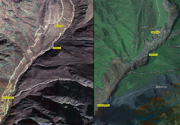(Left) The riverbanks before the disaster struck. (Right) Massive erosion of the riverbanks post disaster