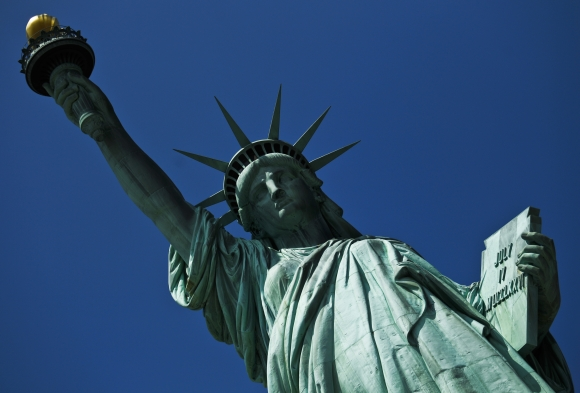 The Statue of Liberty is seen during its reopening to the public in New York