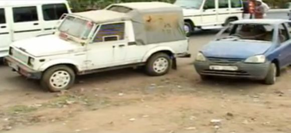 File photo of the police Gypsy and the Tata Indica in which Ishrat and others were travelling