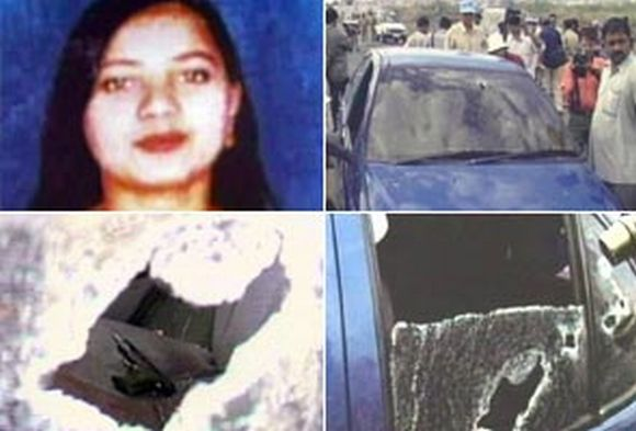 (Top left) Ishrat Jahan, and scenes from the encounter deaths in June 2004