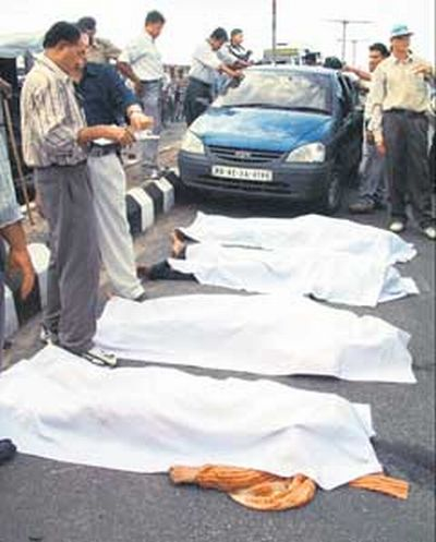 The dead bodies of Ishrat Jahan, Jishar Johar, Amjadali Akbarali Rana and Javed after their encounter deaths in June 2004