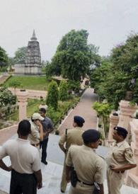 Police at the Bodh Gaya colplex