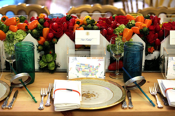 A place setting for Taddy Pettit (unseen), 10, from Oakwood, Illinois is seen on a table during the dinner