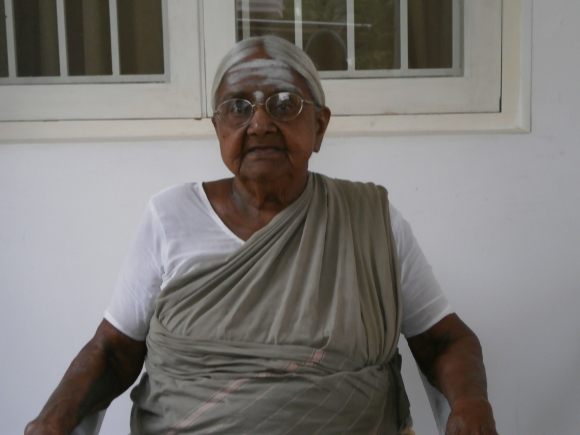 Justice P Sathasivam's mother Nachiammal in their family house