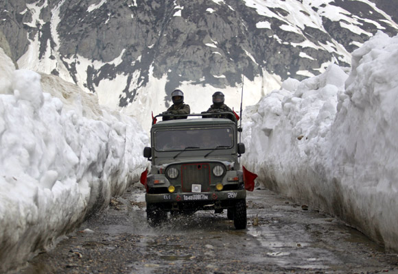 Soldiers travel on the Srinagar-Leh highway. No new roads have been built by the government for years