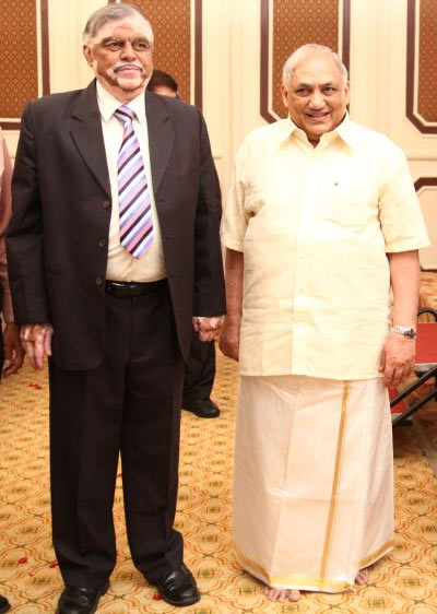 Justice P Sathasivam, left, with his mentor, senior advocate K Doraisami.  Courtesy: Senior advocate Doraisami.