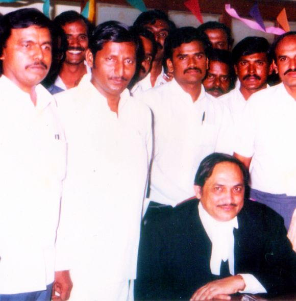 Justice Sathasivam (extreme left) and senior advocate Doraisami (sitting) in this 1988 photograph