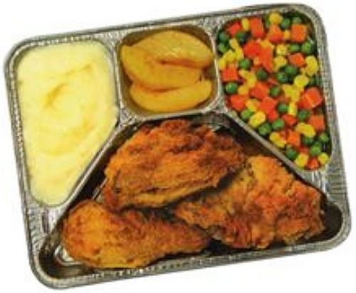 A 1950s-style TV dinner. This type of meal was common until the mid-1980s.