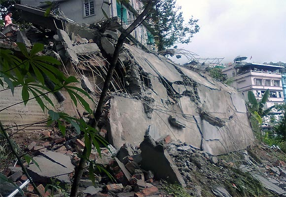 The debris of a residential building after an earthquake