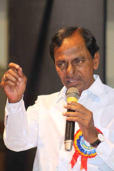 TRS president K Chandrashekhar Rao addressing a gathering in Hyderabad