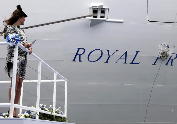 Duchess of Cambridge attends the naming ceremony of the 'Royal Princess' cruise ship