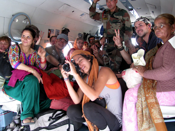 A group rescued by an IAF chopper in Uttarakhand.