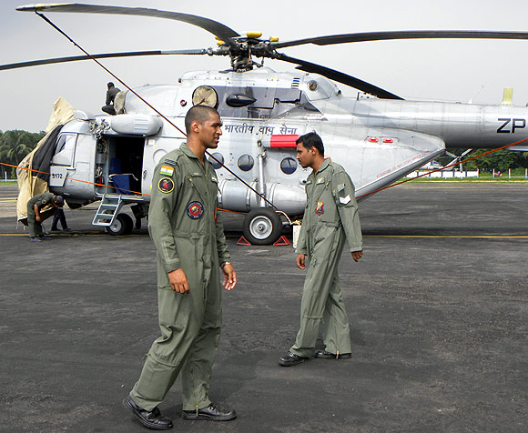 Flying Officer Michael Verghese with Sergeant Sreekanth at the Barrackpore Indian Air Force Station.