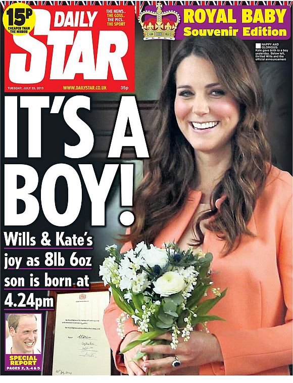 The Daily Star front page announcing the birth of the pr