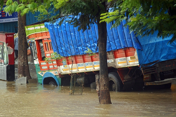 A partially submerged truck at Elphinstone Road