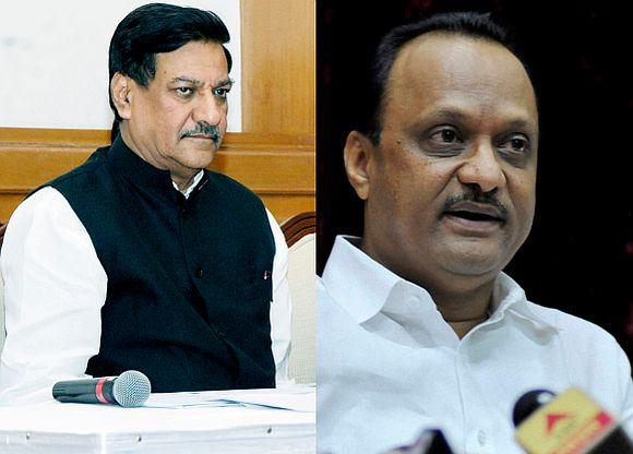 (Left) Maharashtra Chief Minister Prithviraj Chavan (Right) Deputy CM Ajit Pawar