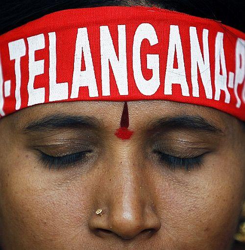 A pro Telangana protestor