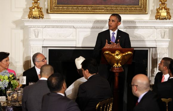 Barack Obama speaks at the Iftar dinner at the White House