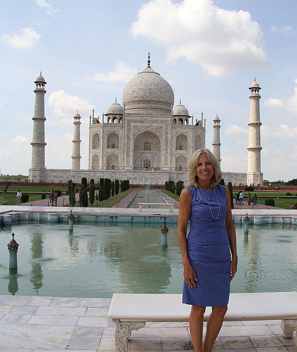 Dr Jill Biden, wife of United States Vice President Joseph Biden, at the Taj Mahal